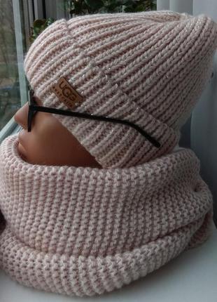 Новый модный комплект: шапка с люрексом (на флисе) и хомут 2 оборота, нюдовый