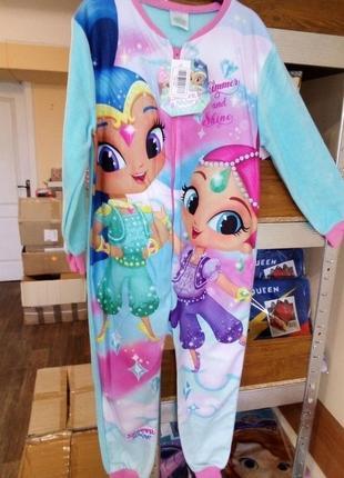Пижама флисовая сдельная шиммер и шайн, теплый слип для девочки