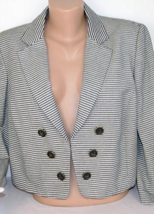 Брендовый черно-белый пиджак жакет блейзер в полоску autograph турция коттон