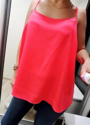 Майка яркая летняя яркая коралловая женственная брендовая