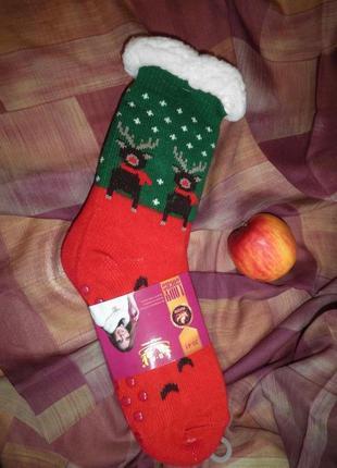 Тёплые домашние носки сапожки с противо скользящими накладками lady socks размер 35-41