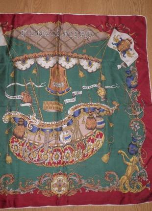 Красивый винтажный платок плотный gentilucci саржевый шелк 75х75см шов роуль италия