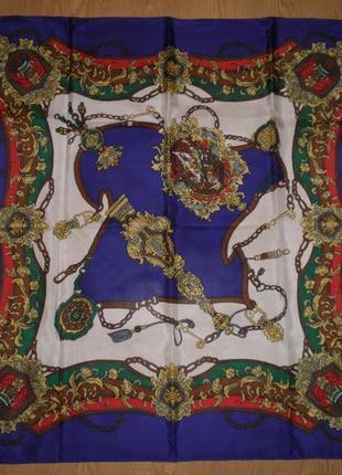Красивый яркий платок шелк 82х80см шов роуль италия