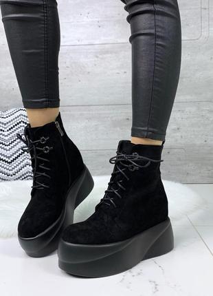 Замшевые ботинки на платформе, замшевые ботинки на шнуровке и высокой подошве