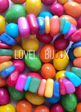Разноцветный браслет из натуральных камней