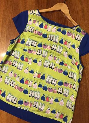 Крутецкая мега-яркая шелковистая футболка блуза в веселый принт