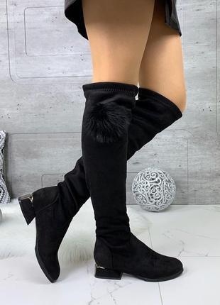 Замшевые сапоги ботфорты на низком каблуке,чёрные замшевые сапоги чулки.