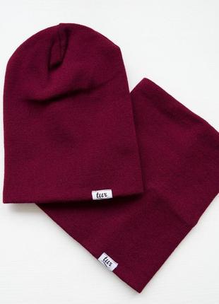 🚀стильный комплект: теплая шапка и бафф❄