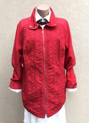 Красная куртка,ветровка с кружевом,перфорация,большой размер