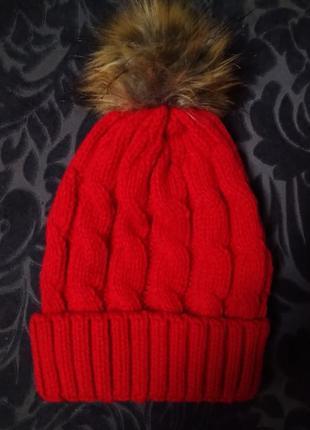 Шапка жіноча з помпоном / шапка женская с помпоном