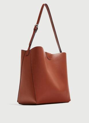 Cумка шоппер ярко коричневая корица