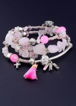 Браслет 'fj' розовый кварц 60 см. 0694990