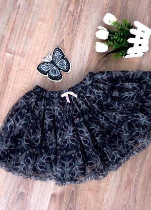 Пышная фатиновая юбка пачка котики от h&m для маленькой модницы 6-8 лет