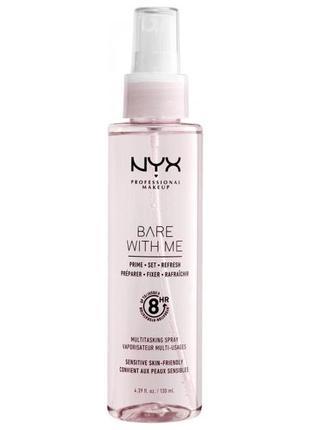 Многофункциональный спрей для фиксации макияжа 3в1 nyx bare with me