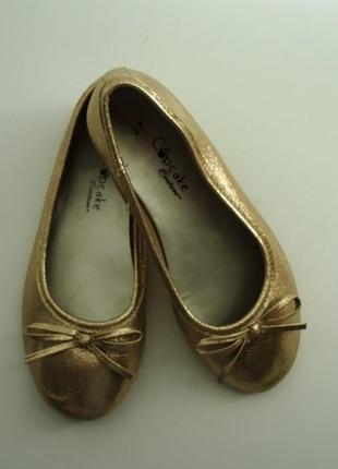 Золотистые нарядные балетки, туфли, cupcake, золото, размер 27. новые