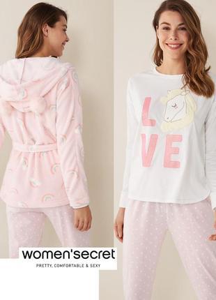 Нежнейшая пижама тройка, плюшевый халат s 36-38 euro от women'secret
