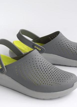 Кроксы мужские сабо crocs literide clog grey/light green