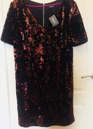 Новое блестящее платье, нарядное, паетки, пайетки, бахрома, велюр, бронза