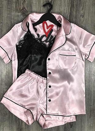 Атласный комплект тройка-рубашка+ майка+ шорты