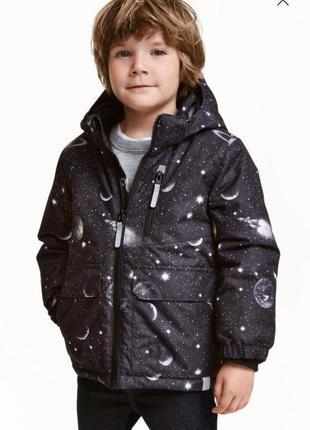 Теплая и стильная куртка-парка космос от h&m , для мальчика 6-7 лет.