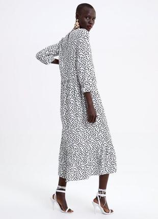 Шикарное платье в горох горошек zara платье миди