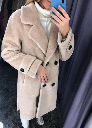 Шуба пальто из 100% натуральной овчины в стиле макс мара