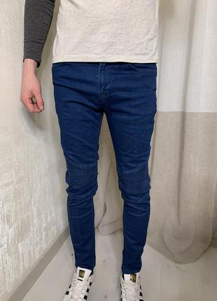 Штаны супер скини fit, байкеры , стеганые джинсы