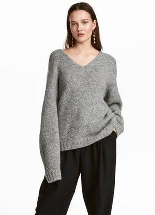 Серый шерстяной свитер светр кофта джемпер шерсть альпака с вырезом h&m
