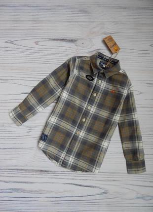 🌿стильная рубашка в клетку с натуральной ткани от mantaray. возраст 4года🌿