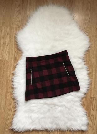 Крутая юбка в клеточку с карманами,бордовая юбка с молниями