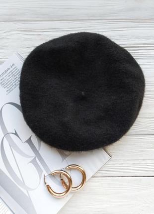 Черный чёрный шерстяной берет шапка h&m