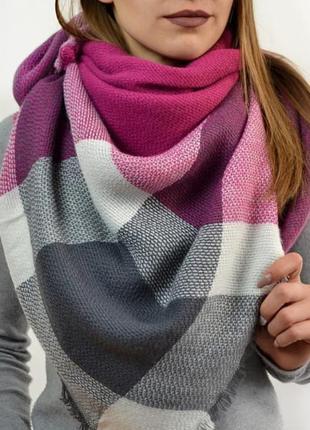 Женский теплый шерстяной шарф/платок в клетку - серый+белый+марсала (фуксия)