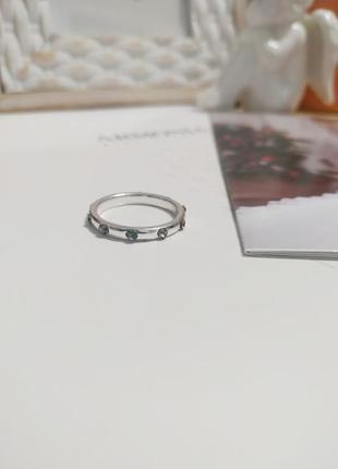 Серебристое кольцо asos с камнями, минималистичное колечко, кільце