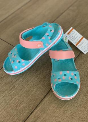 Крокс сандали детские пальма bayaband seasonal graphic sandal pool blue