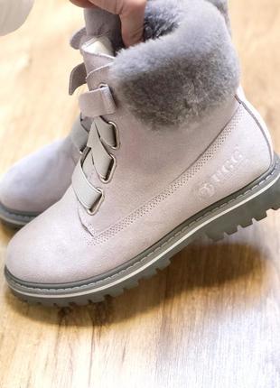 Женские зимние ботинки ugg grey с натуральным мехом