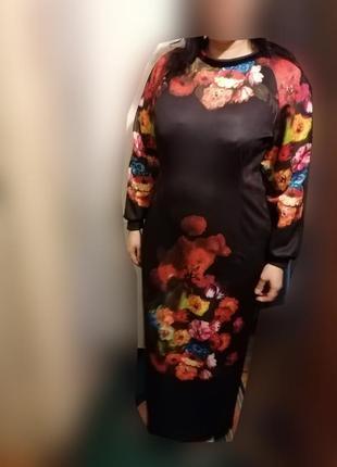 Длинное трикотажное платье р 52-54