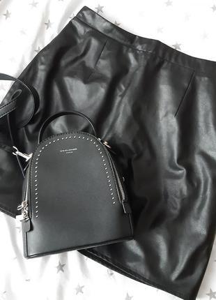 Чорна міні юбка з еко шкіри