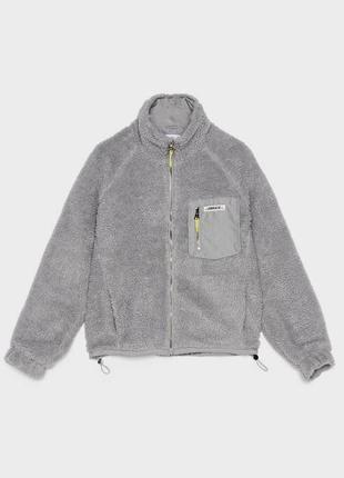 Новая укороченная куртка на молнии, плюшевый мех, молния с кольцом, с биркой из бутика