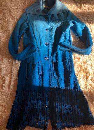 Яркое пальто – кардиган из валяной шерсти, sweater house, испания, р-р 2.