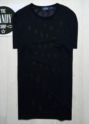 Мужская черная футболка в сеточку topman, размер м
