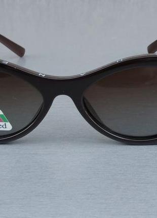 Chanel модные  женские солнцезащитные очки узкие овальные поляризированые коричневые