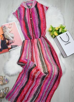 Плиссированное платье в пол миди длинное в полоску шифоновое красивое летнее
