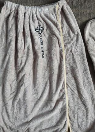 Полотенце-халат с челмой для волос, подарочный набор для бани сауны ванны