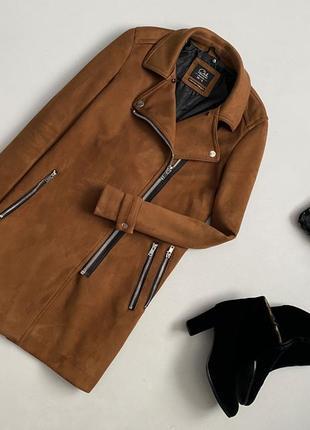 Стильное замшевое пальто косуха / авиатор clockhouse