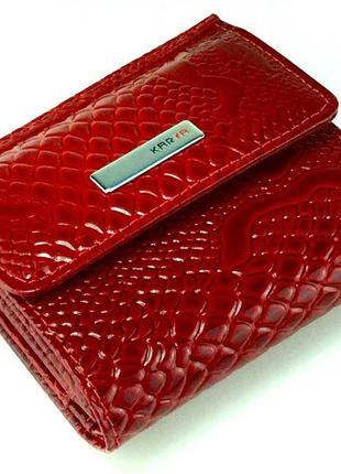 """Маленький женский кожаный кошелек karya 1066-019 красный """"под рептилию"""""""