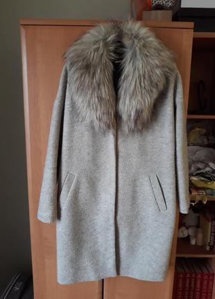 Шерстяное пальто с искусственным мехом от top secret