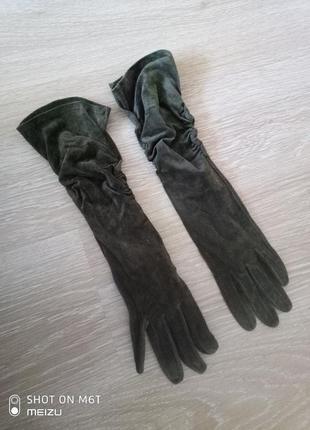 Высокие перчатки из натуральной замши