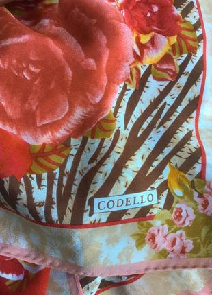Шелковый платок с цветочно- тигровым принтом от codello