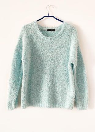 Мятный свитер травка, пушистый бирюзовый свитер, волосатый свитер оверсайз