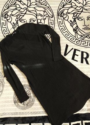 Теплое длинное платье. чёрное. базовые. ребчик.